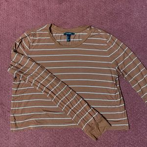 Forever 21 Cropped Long Sleeve striped T Shirt